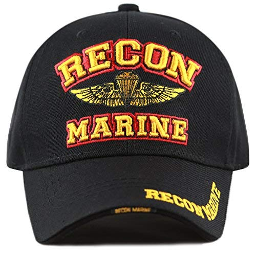 THE HAT DEPOT 1100 Marine Recon 3D Embroidered Official Licensed Baseball Cap (Black Recon)