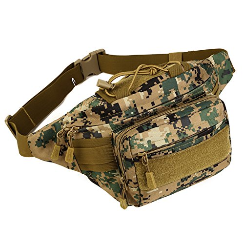 Review Huntvp Military Hip Fanny Pack Tactical Waist Bag Packs Waterproof Hip Belt Bag Pouch for Hiking Climbing Outdoor Bumbag Jungle Camouflage
