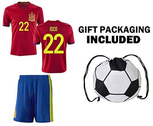 Fan Kitbag Spain Isco  22 Youth Home Away Soccer Jersey   Shorts Kids  Premium Gift Kitbag ✮ BONUS Soccer Ball Drawstring Backpack (Youth Small  6-8 Years 03646f0e6