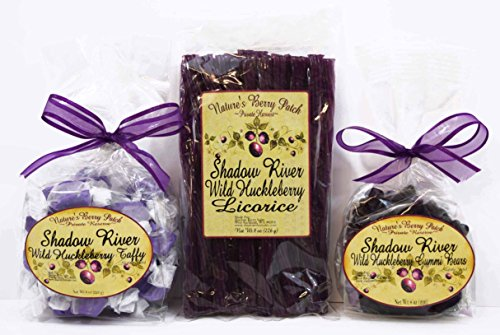 Shadow River Wild Huckleberry Candy Sampler (Licorice, Taffy, Gummi Bears) (Licorice Gift)
