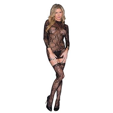 fdc16213e6 Amazon.com  Glitter 37500 Women s Long Sleeve Lace Bodystocking ...