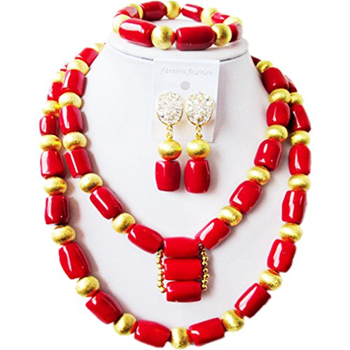 laanc Coral Tube Beads Natural 2-3 Layers Red and Gold African Bead Nigerian Bridal Wedding Jewelry Set (2 Layers Orange and Sand Bead)