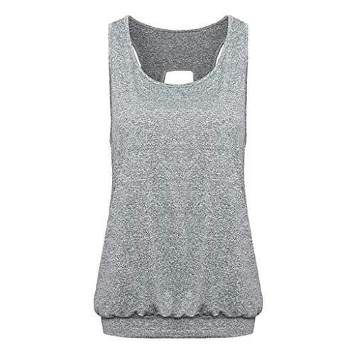 (KoLan Womens Blouse Women's Vest Backless Tank Top Keyhole Workout Shirts Open Back Soft Sports Tank Tops (L, Gray))