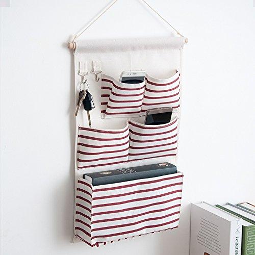 Bedroom Canvas Hanging Bag Sundries Storage Bag Wall Hanging Bedroom Door Behind Storage Bag, Red