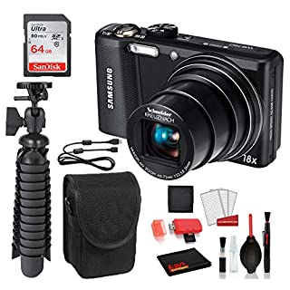 Samsung WB750 Digital Camera (Black) Essential Bundle - San Disk 64gb SD Card + More