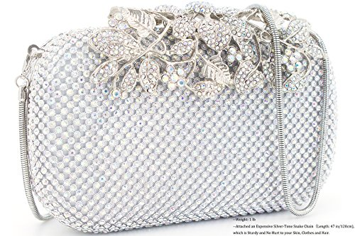 Dexmay Luxury Flower Women Clutch Purse for Wedding Party Rhinestone Crystal Evening Bag AB Silver