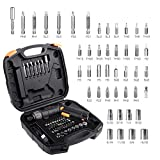 Electric Cordless Screwdriver Rechargeable Professional, 4V Max 2.0Ah Li-ion, Torque 6Nm, 9+1 Torque Gears, 45 Pcs sets/bits, Adjustable 2 Position Handle with LED Torch, USB Charg