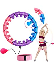 Colorful Smart Weighted Fitness Massage Hula Hoop for Adults and Children,Never Falling Hula Hoops with 24 Detachable Knots Adjustable,Match A Resistance Band of The Same Series Color