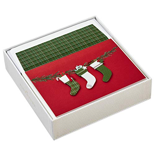 Hallmark Signature Christmas Boxed Cards, Christmas Stockings (10 Christmas Cards with Envelopes)