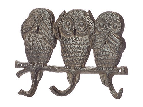 Owls - See, Hear, Speak No Evil | Decorative Cast Iron Wall Hook Rack | Vintage Design Hanger with 3 Hooks | for Coats, Hats, Keys| Wall Mounted | 13.6 x 7- with Screws and Anchors