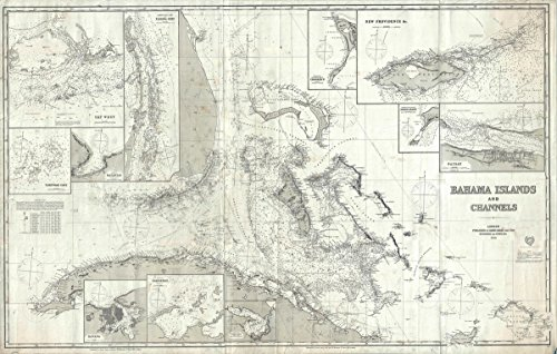 Historic Map | Imray Antique Map or Blueback Nautical Chart of The Bahamas and Florida, 1872 | Historical Antique Vintage Decor Poster Wall Art | 24in x 36in