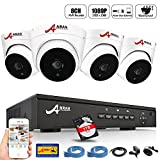 [Expandable] ANRAN 8CH PoE Home Surveillance NVR System w/ 4PCS 1080p Power Over Ethernet CCTV Security Dome IP Network Cameras Waterproof Outdoor Plug and Play Motion Detection 1TB Hard Drive