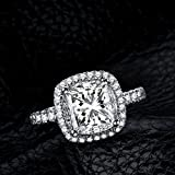 Jewelrypalace Women's 3ct Cubic Zirconia Cz Wedding Band Anniversary Halo Engagement Ring 925 Sterling Silver Size 6