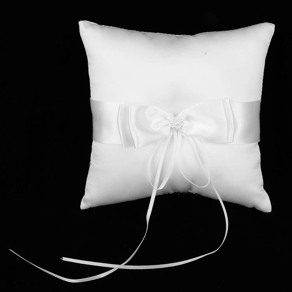 1# AUNMAS Cuscino portacandele Anello in Raso Bianco Bowknot con FEDI Nuziali Perla Simulazione Accessori per Feste di Fidanzamento