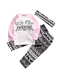 Baby Girl Outfit Set Letter Print Long Sleeve Top+Retro Pants+Headband Girls Clothes 0-5Y