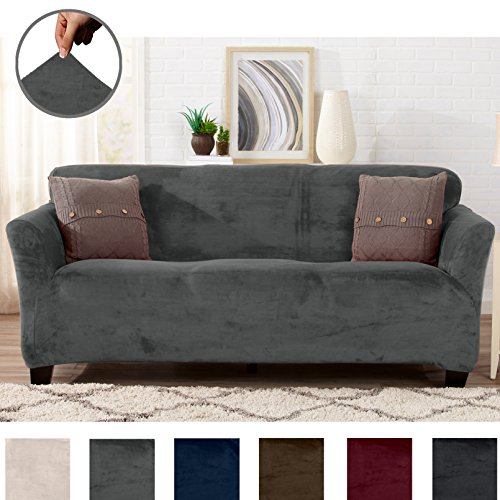 Great Bay Home Modern Velvet Plush Strapless Slipcover. Form Fit Stretch, Stylish Furniture Cover/Protector. Gale Collection Brand. (Sofa, Wild Dove Grey)