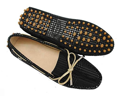 LL STUDIO Womens Casual Bowknot Black Strips Suede/Leather Driving Walking Penny Loafers Boat Shoes 9 M US -  LL STUDIO-YIBU9602-Black Strips41