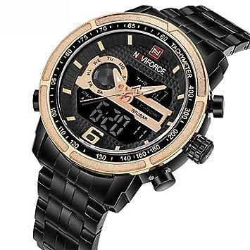 Relojes Hermosos, NAVIFORCE Hombre Reloj digital Reloj creativo único Reloj Militar Japonés Cuarzo Calendario Cronógrafo Resistente al Agua Esfera Grande ...