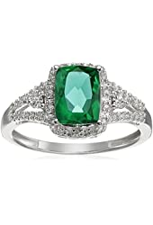 10k White Gold Cushion Simulated Emerald with Round White Diamond Ring