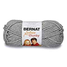 Bernat 16112828046 Softee Chunky Yarn, Grey Heather, 1 Pack