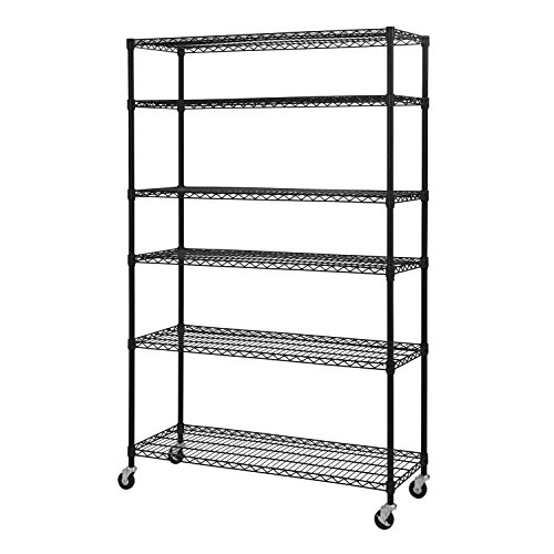 Cart Open Wire (Sandusky Lee MWS481874-B 6-Tier Wire Shelving Unit with 3