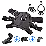 Sports Action Camera Adjustable Dog Harness with Chest and Back Mounts for GoPro Hero 6, 5, 4 Session 4, 3, 2, 1   Dogs POV, Point of View   Includes Bonus 90° Mount   Redesigned 2019
