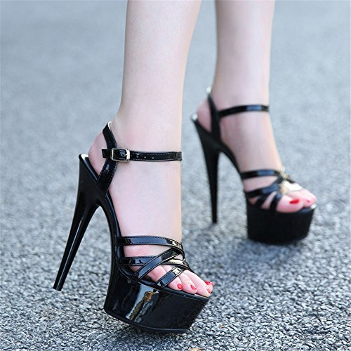 Sandalias Sexy Con De Hxvu56546 Verano Zapatos Alta Mujer Black Cristal Bien Shoes Princess 15cm heel vzqpf