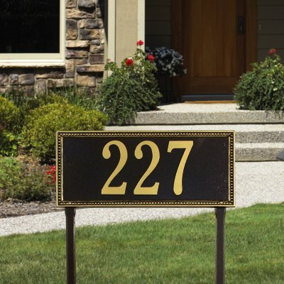 (Whitehall Products Egg and Dart Rectangular Antique Copper Standard Lawn One Line Address Plaque)