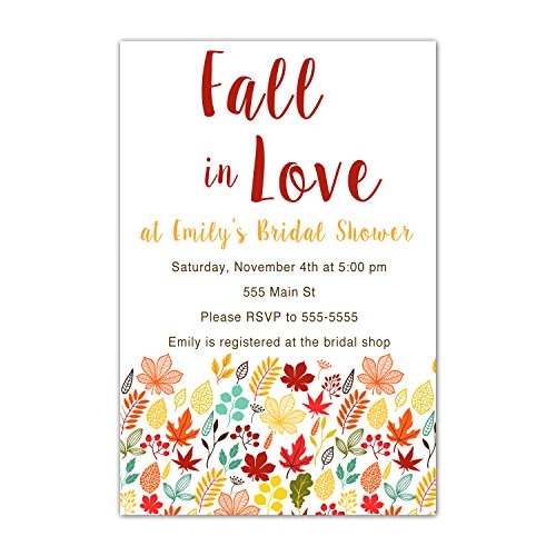 Invitation Leaves Wedding Fall (30 Invitations Fall Autumn Leaves Bridal Shower Wedding Couples Personalized Cards + 30 White Envelopes)