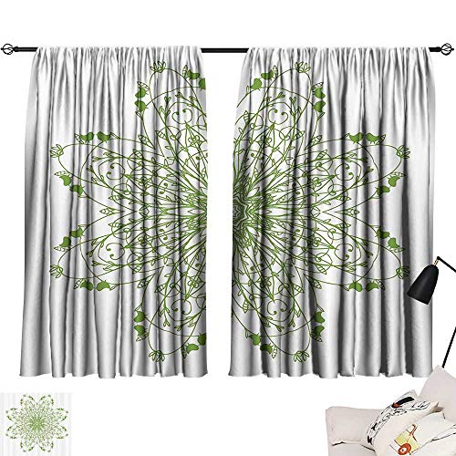 Anzhutwelve Window coverings Celtic Decor Collection,Oriental Flower Design Circle Pattern with Laurel Leaves and Birds Floral Renaissance Print,Green W72 x L63 Indoor Wall Curtain Decorations