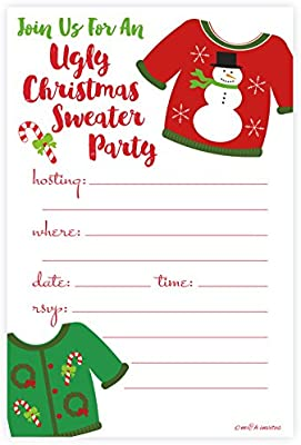 Ugly Christmas Sweater Party Invite.Ugly Christmas Sweater Party Invitations Fill In Style 20 Count With Envelopes By M H Invites