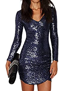HaoDuoYi Women's Band Long Sleeve Wrap Front Sequins Covered Deep Blue Dresses