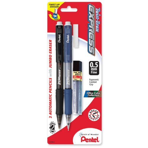 Pentel Twist-Erase EXPRESS Automatic Pencil with Lead and Eraser, 0.5mm, Assorted Barrels, 2 Pack (QE415LEBP2) (Lead Pencil Automatic)