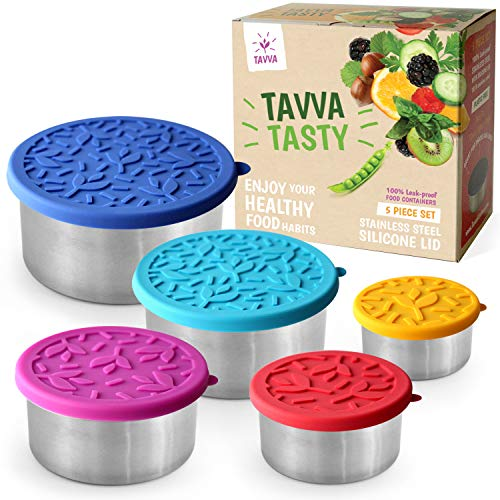 TAVVA Tasty - 5 Stainless Steel Food Storage Containers - Plastic Free | Silicone Lids | Leakproof Toddler Lunch Box | Tupperware Containers - Also Suitable as Kids Lunch Box and to Go Containers