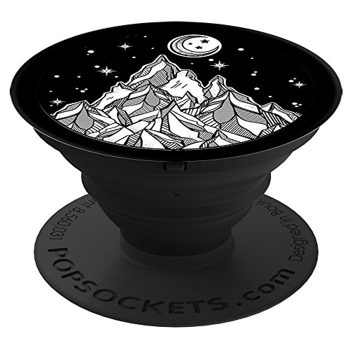 Sassy Southern Charm & Grace Vintage Explorer Mountain & Moon on Black PopSockets Stand for Smartphones and Tablets - Vintage Explorer