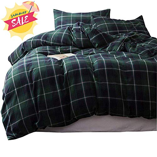 AMWAN Green Grid Plaid Duvet Cover Set Cotton Checkered Bedding Set King Modern Luxury Hotel Comforter Cover Set Cotton Plaid Bedding Collection 1 Duvet Cover with 2 Pillowcases King Bed