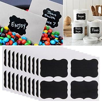Lot de 40 mini étiquettes pour tableau noir réutilisables Étanches pour organisateur de bonbons pour cuisine, garde-manger, verres à vin, bocaux Mason aléatoire