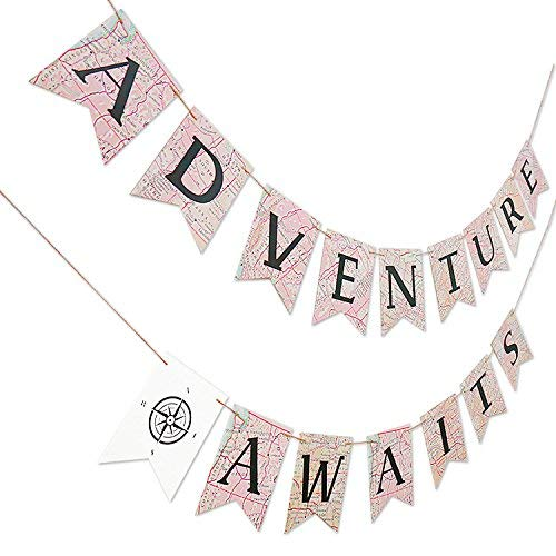 Adventure Awaits Bon Voyage Banner, Travel Themed Party Decorations, Retirement /Baby Shower/Graduation Map Banner, Moving/Relocation/Wedding/Bachelorette/Job Change/Farewell/Career Change Party -