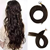 [PROMOTION]Full Shine 16 Inch Hair Tape Double Sided Top Quality Tape In Extensions Color #2 Darkest Brown Remy Tape In Hair Extension 1g/piece 20pcs Human Hair 20gram