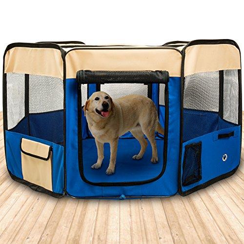 🥇 BIGWING Style-Parque Perro Gato Conejo Mascota de Juego Entrenamiento Dormitorio Plegable Lavable Durable Octágono 125x 125x 58 CM