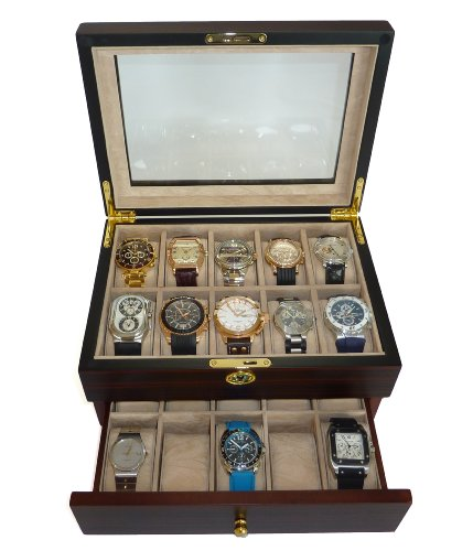 Walnut Wood Jewelry (20 Piece Ebony Walnut Wood Men's Watch Box Display Case Collection Jewelry Box Storage Glass Top)