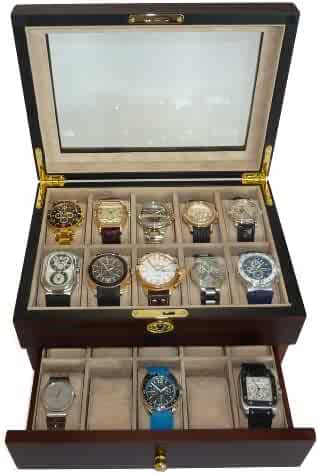 20 Piece Ebony Walnut Wood Men's Watch Box Display Case Collection Jewelry Box Storage Glass Top