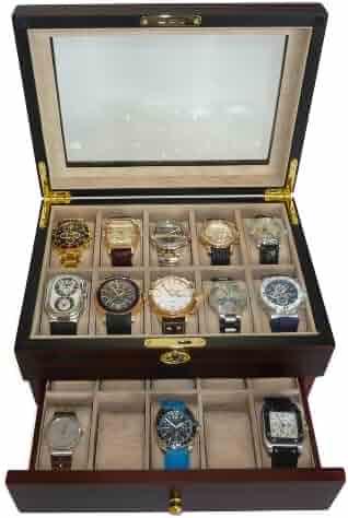 20 Piece Ebony Walnut Wood Men's Watch Box Display Case Collection Jewelry Box Storage Glass Top