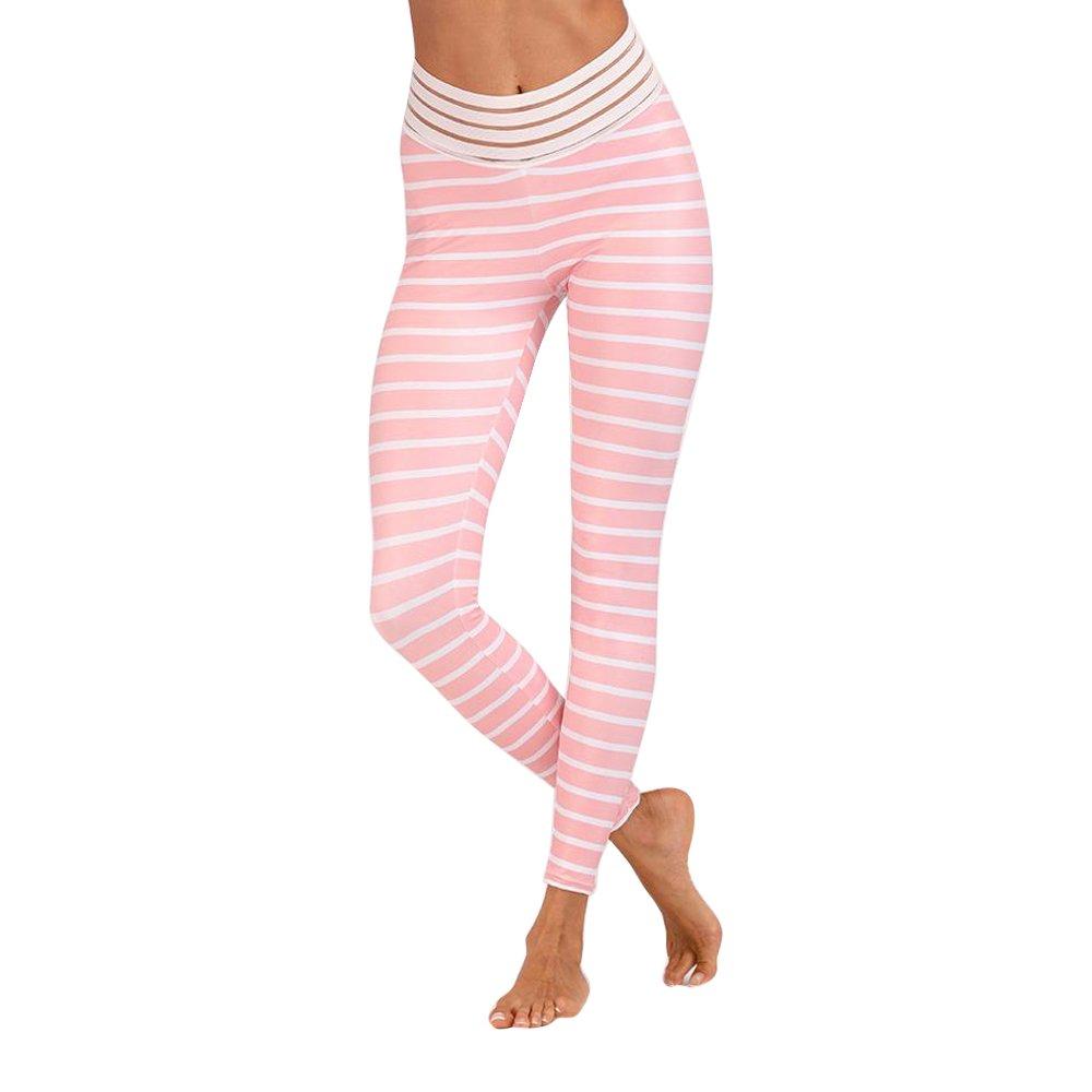 Shujin Leggings Rayures Taille Haute de Yoga Pants Impression Taille Elastique Push up de Fesses