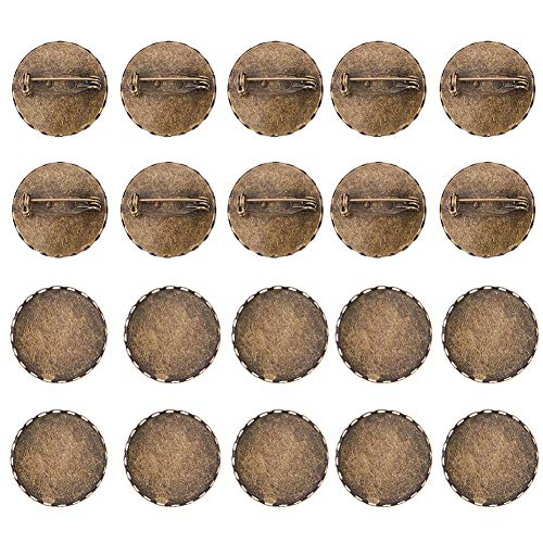(PandaHall 10 Pcs Iron Brooch Clasps Pin Disk Base Pad Bezel Blank Cabochon Trays Backs Bar Diameter 25mm for Badge, Corsage, Name Tags and Jewelry Craft Making Antique)