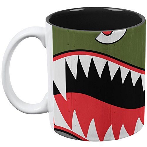 Halloween WWII Flying Tiger Fighter Shark Nose Art All Over Coffee Mug White-Black Standard One Size]()