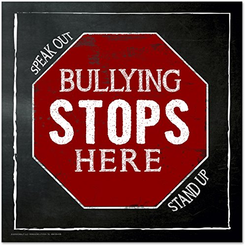 Bullying Stops Here Mini Quote Poster. Inspirational Chalkboard Art Print.