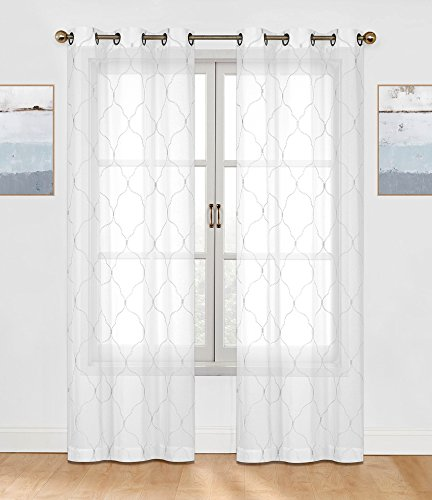 2 Pack: Regal Home Collections Brenda Trellis Embroidered Sheer Voile Grommet Curtain Panels - Assorted Colors (White)