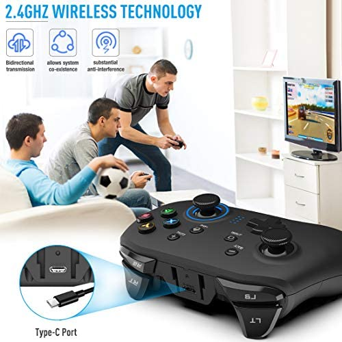 Forty4 Wireless Gaming Controller, Dual-Vibration Joystick Gamepad Computer Game Controller for PC Windows 7/8/10, PS3,/Switch/TV Box/Laptop/Android Mobile Phones – Black