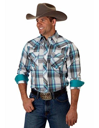 Blue Plaid L/s Shirt (Roper Western Shirt Mens L/S Snap Plaid XL Blue 03-001-0062-0228)